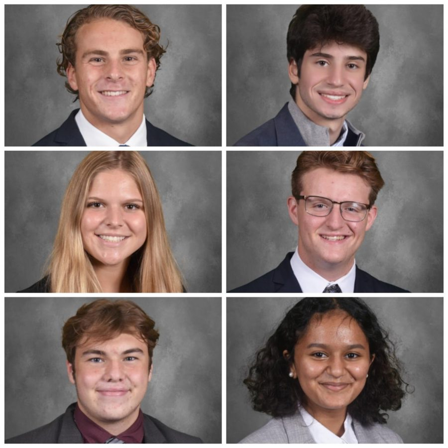 From left to right: Cooper Sugden '21 (YRC), Spencer Metz '22 (YDSA), Izzy Tabarrini '21 (YRC), Gavin Guerrette '21 (YSDA), William Dollhopf '21 (YDC), Nimala Sivakumar '23 (YDSA). Student headshots courtesy of the Headmaster's Office.