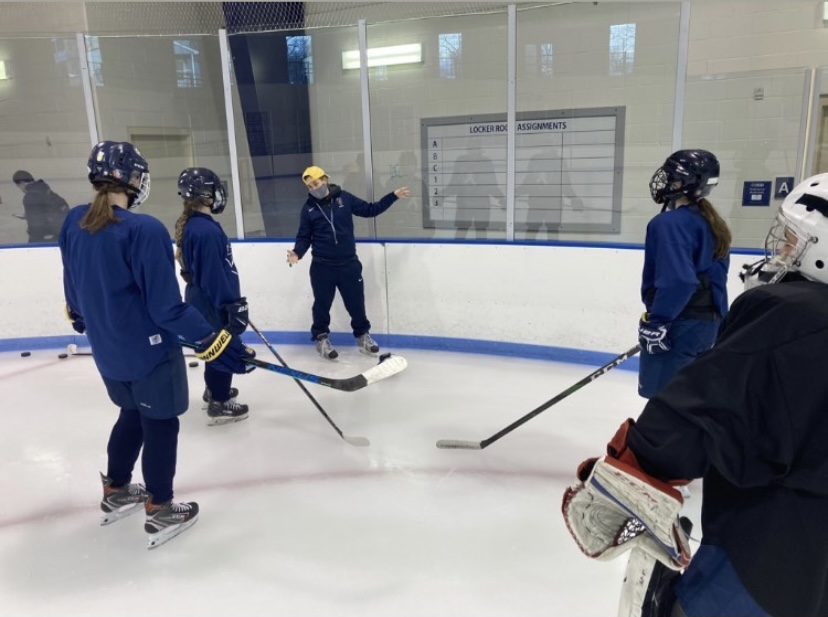 With masks on, girls hockey is back on the ice.  Photo courtesy of Ari Baum and HillGHockey on Instagram