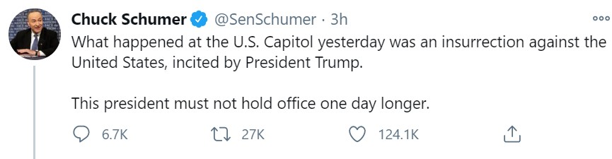 Sen. Chuck Schumer has joined calls for Vice President Mike Pence to invoke the 25th Amendment. Photo courtesy of Twitter / @SenSchumer