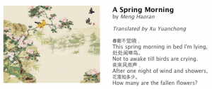 A screenshot of a poem and its translation shared on Today on the Hill by the club.