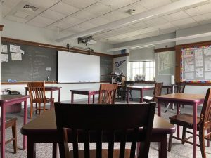 This is the view from a seat in the classroom of the board where the virtual students appear. Photo by Rease Coleman '22