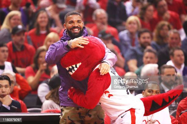 TORONTO, ONTARIO - MAY 19: Rapper Drake attends game three of the NBA Eastern Conference Finals between the Milwaukee Bucks and the Toronto Raptors at Scotiabank Arena on May 19, 2019 in Toronto, Canada. Photo by Gregory Shamus/Getty Images.