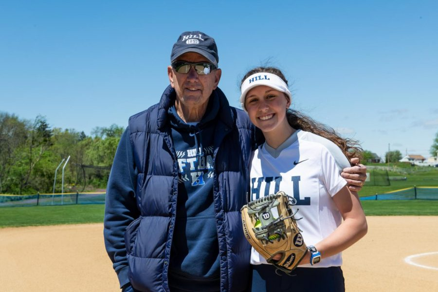 Colleen Quinn '21 at a 2019 softball game. Photo courtesy of HillSnapshots
