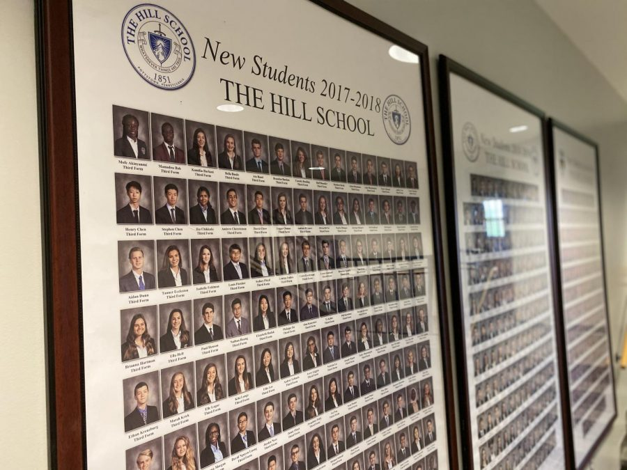 Newly enrolled students in 2017 are displayed on the first floor of the Academic Building. Photo by Claire Hartemink '21.