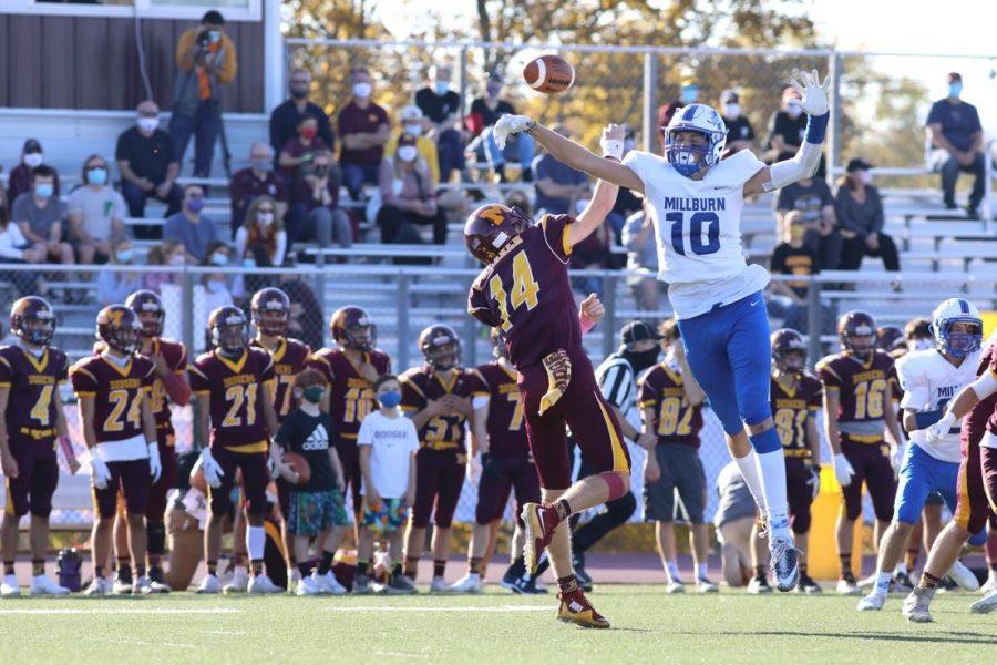 Luke Pickard 22 deflected a pass, competing for Millburn High School.